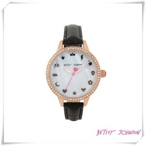 ✤ Betsey Johnson Emoji Black & White Watch